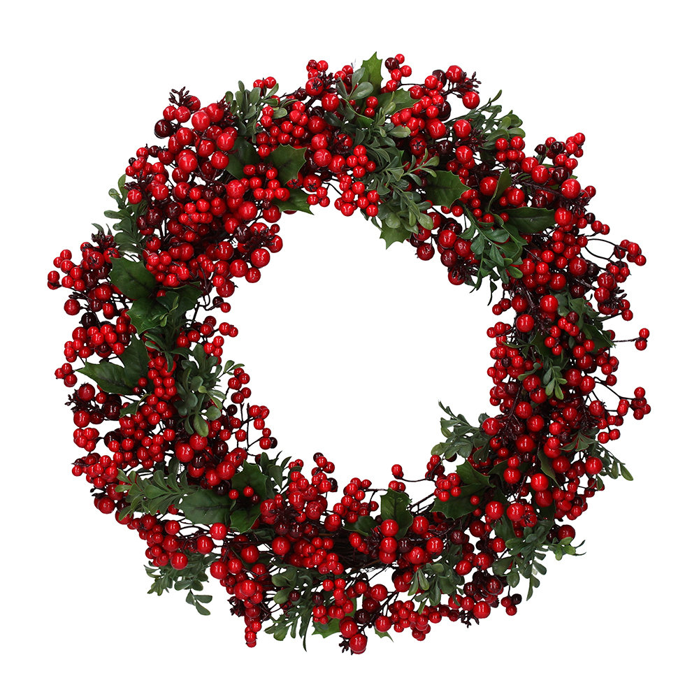 Gisela Graham - Green Leaf Wreath with Two Tone Red Berries