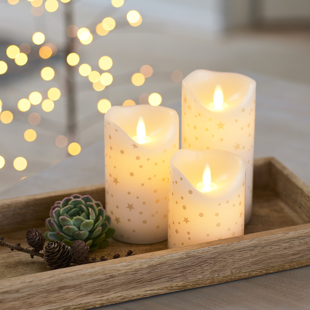 Sirius - Sara Flameless Candle - Set of 3 - Romantic Gold