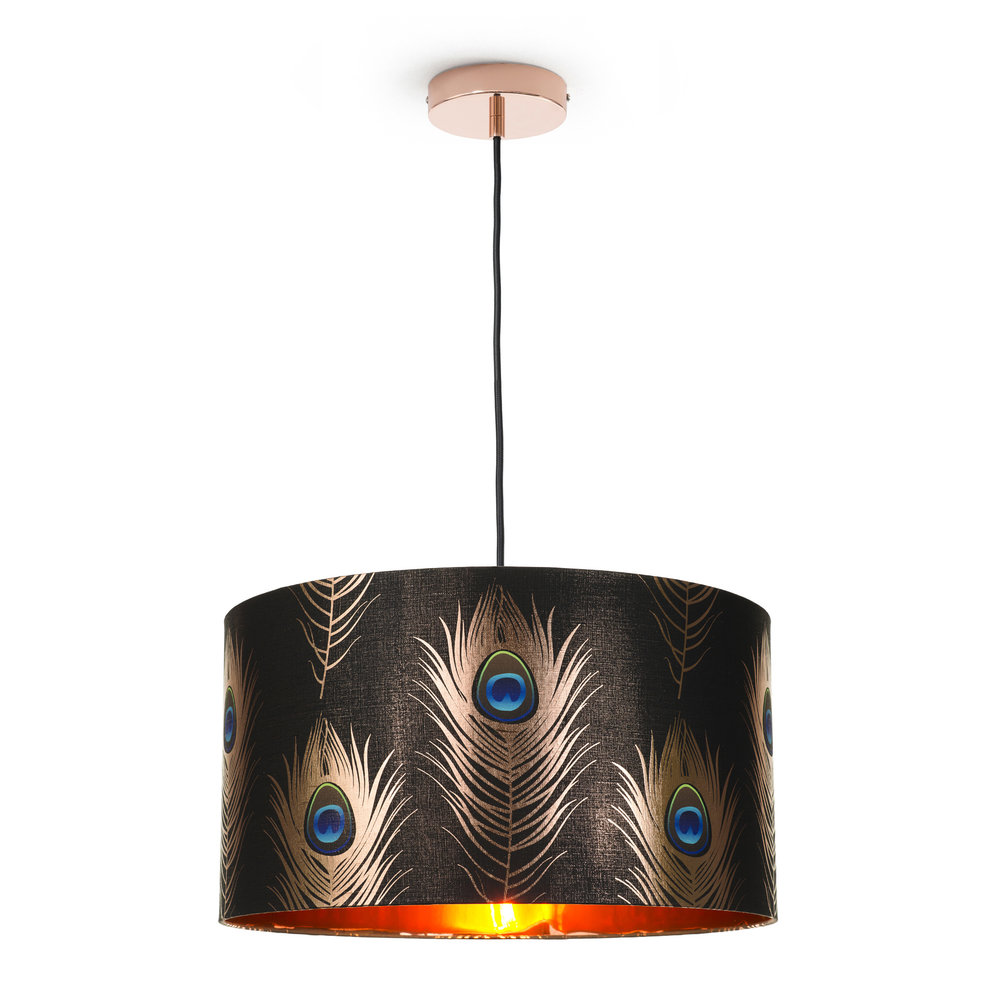 MINDTHEGAP - Peacock Feathers Drum Ceiling Light - Large
