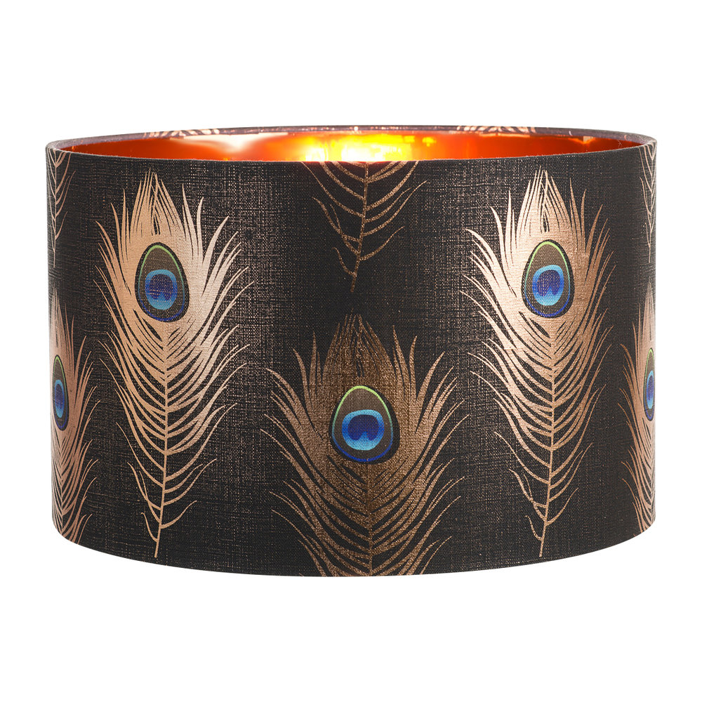 MINDTHEGAP - Peacock Feathers Drum Lamp Shade - Small