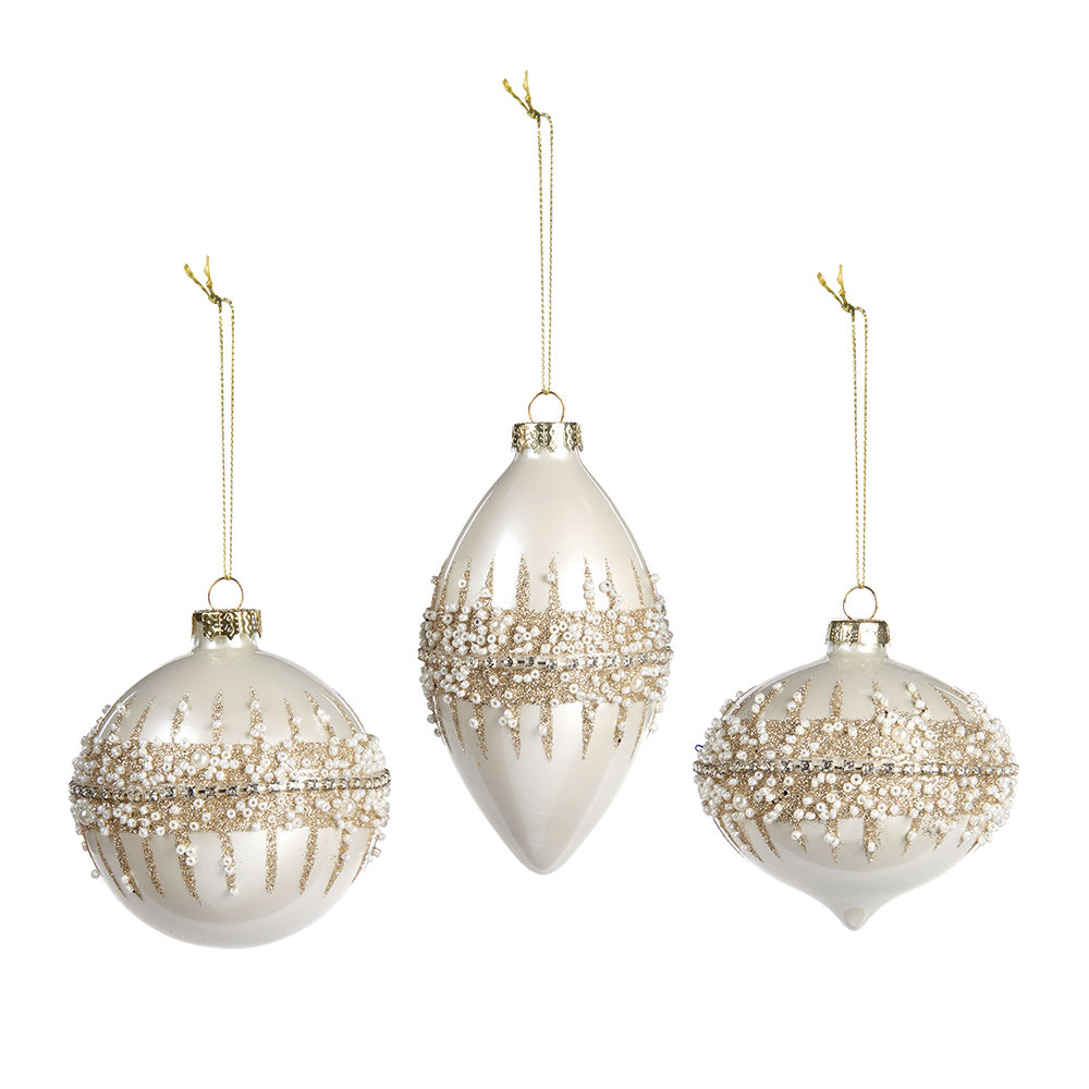 A by Amara - Beaded Ring Bauble - Set of 3 - White