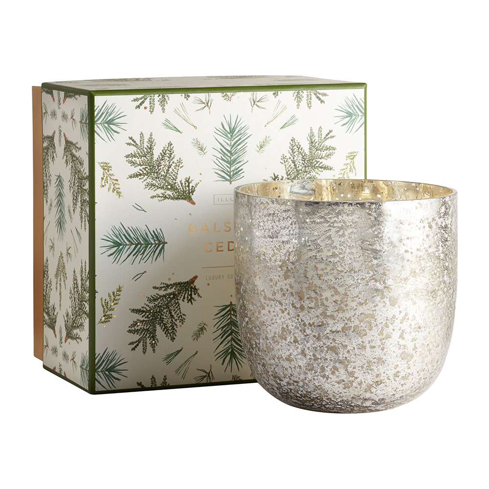 Illume - Luxe Sanded Mercury Glass Scented Candle - Balsam  Cedar - 625g