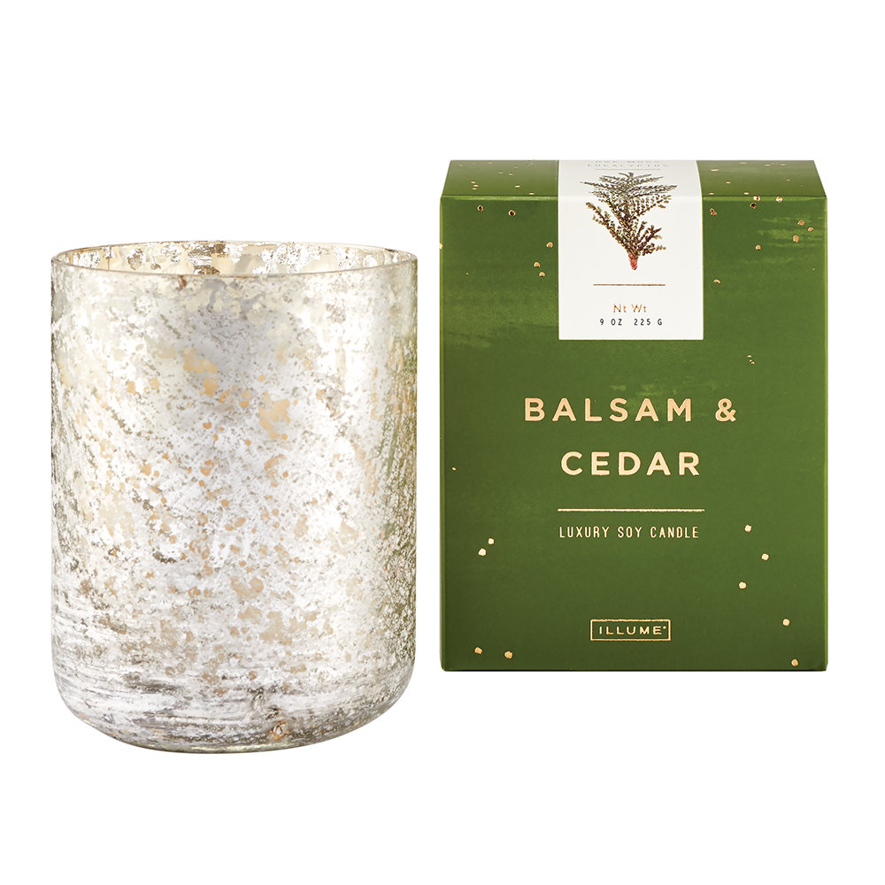 Illume - Luxe Sanded Mercury Glass Scented Candle - Balsam  Cedar - 255g