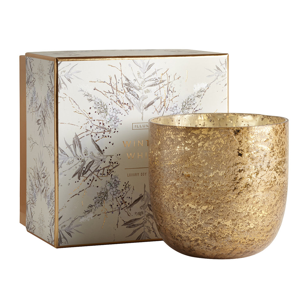 Illume - Luxe Sanded Mercury Glass Scented Candle - Winter White - 625g