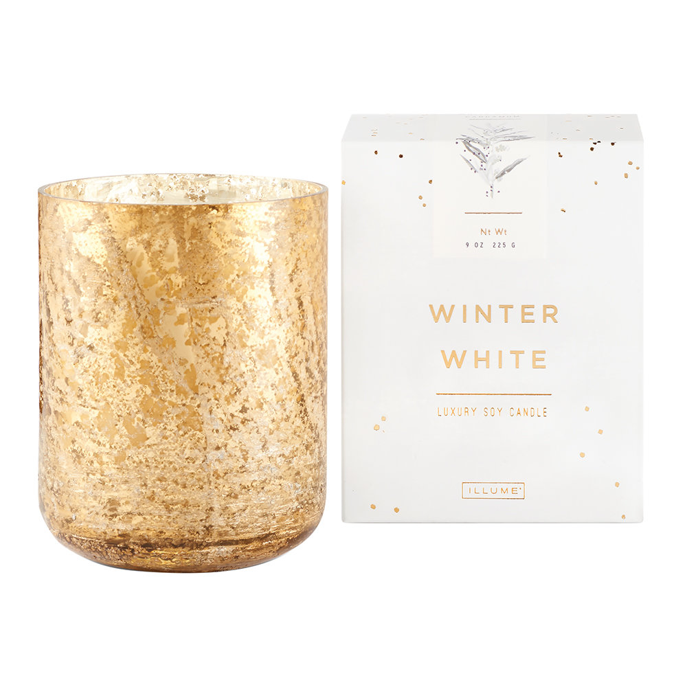 Illume - Luxe Sanded Mercury Glass Scented Candle - Winter White - 255g