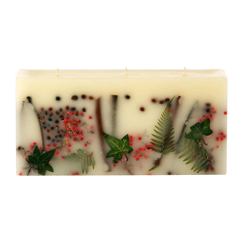 Rosy Rings - Botanical 3 Wick Brick Scented Candle - Red Currant & Cranberry