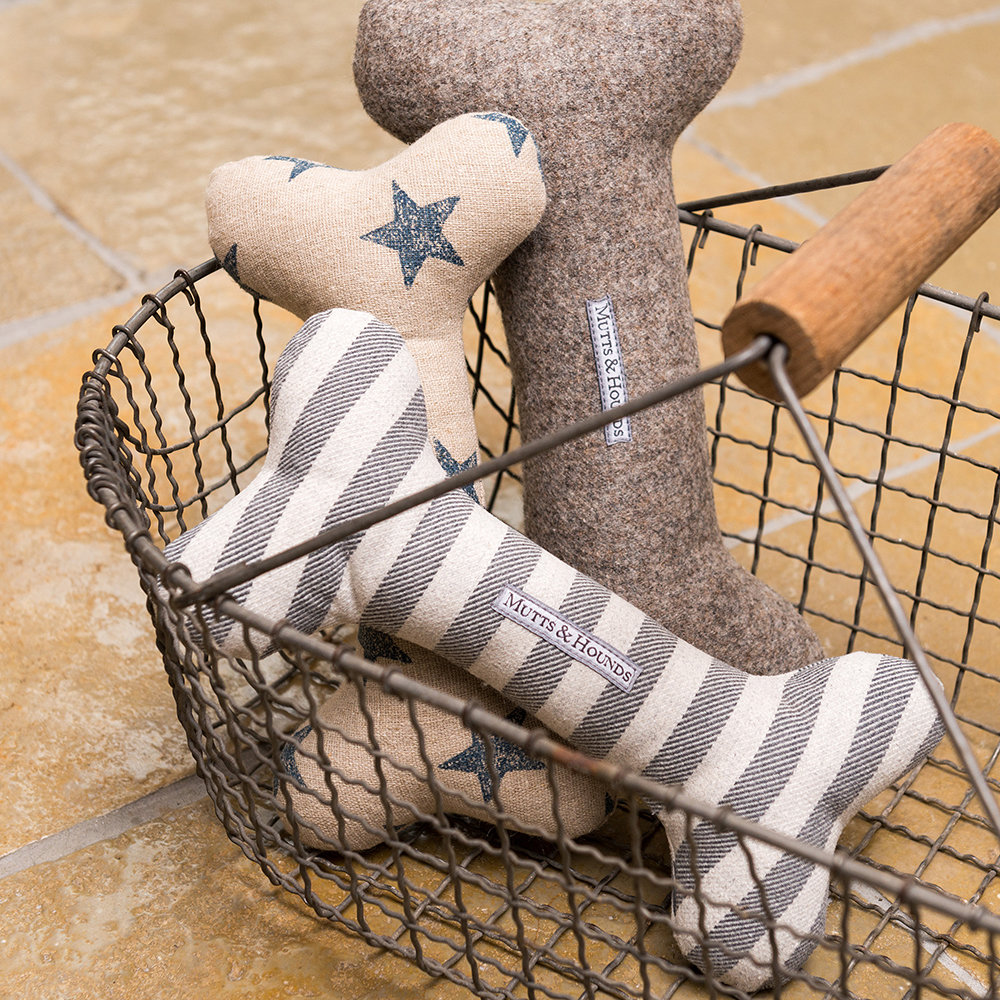 Mutts & Hounds - Brushed Cotton Bone Toy - Flint Stripe