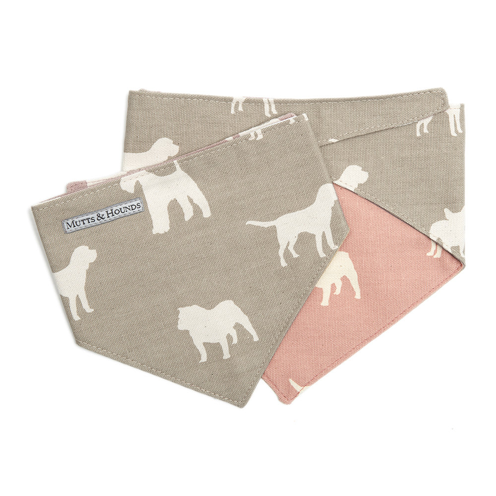 Mutts & Hounds - M&H Reversible Neckerchief - French Grey/Old Rose - Medium