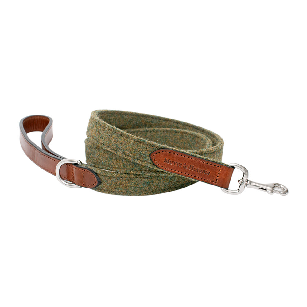 Mutts & Hounds - Leather & Tweed Lead - Forest Green/Tan - Wide