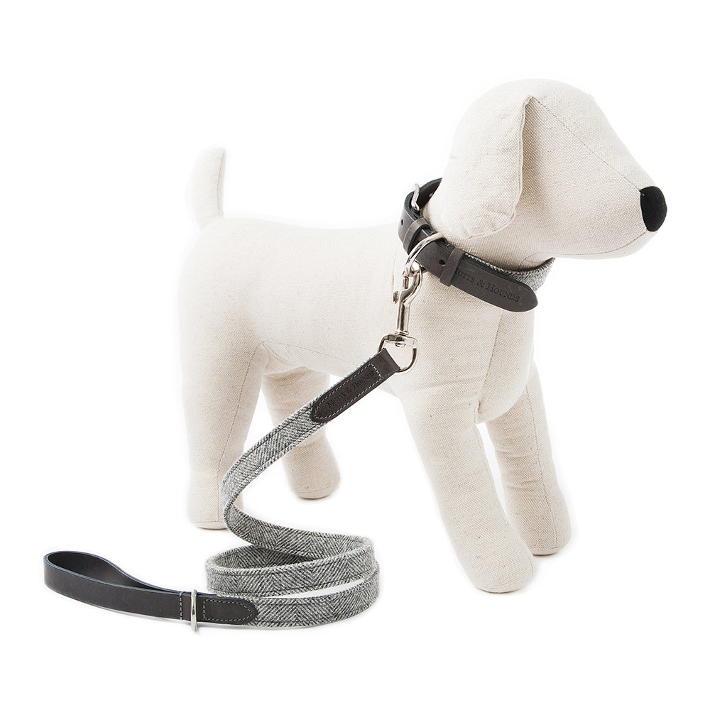 Mutts & Hounds - Stoneham Leather/Tweed Lead - Slim