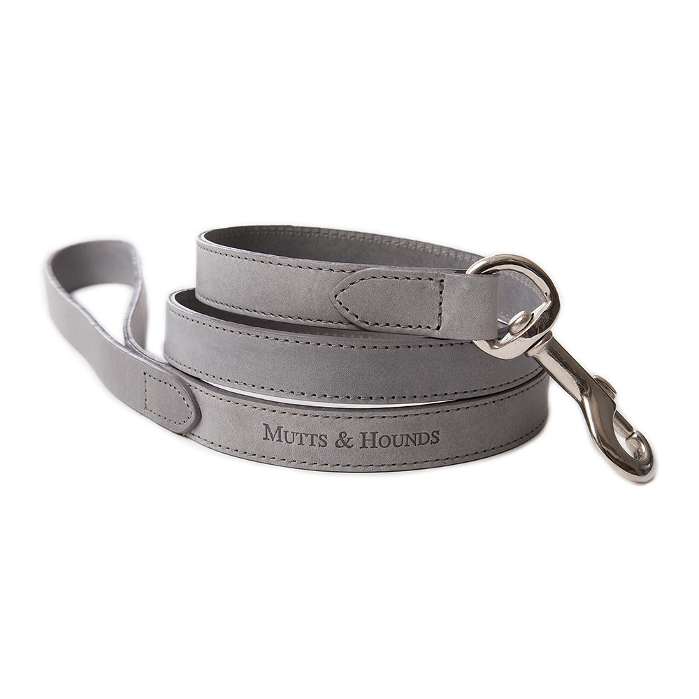 Mutts & Hounds - Leather Lead - Gray - Wide