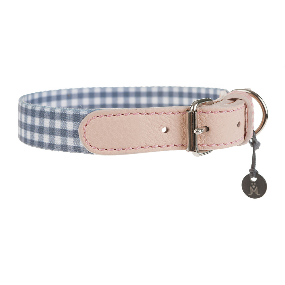 Mungo  Maud - Clara Check Collar - Grey/Bonbon - Orange/Lavender