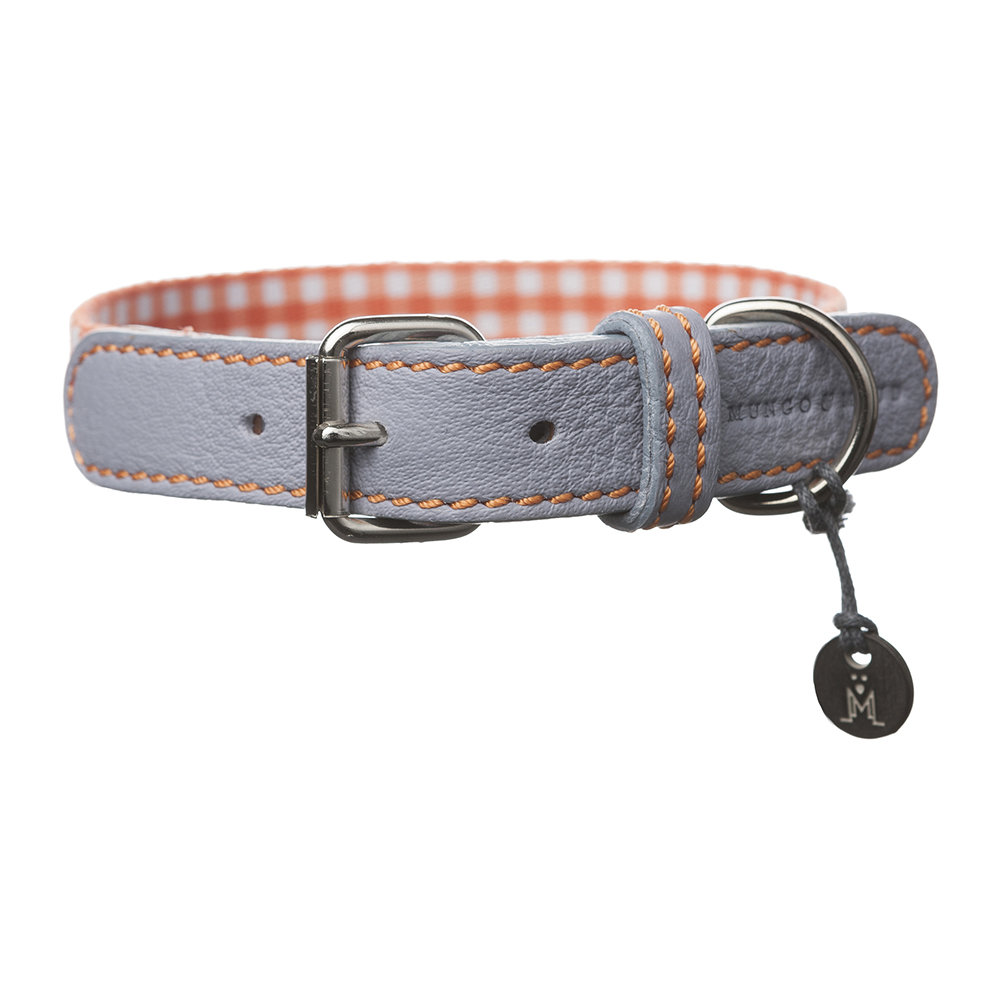 Mungo & Maud - Clara Check Collar - Orange/Lavender - Large