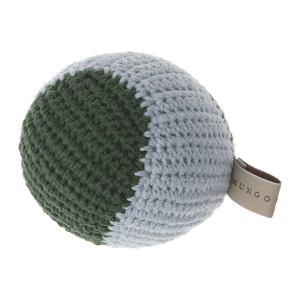 Mungo  Maud - Crochet Baseball Dog Toy - Forest/Ice