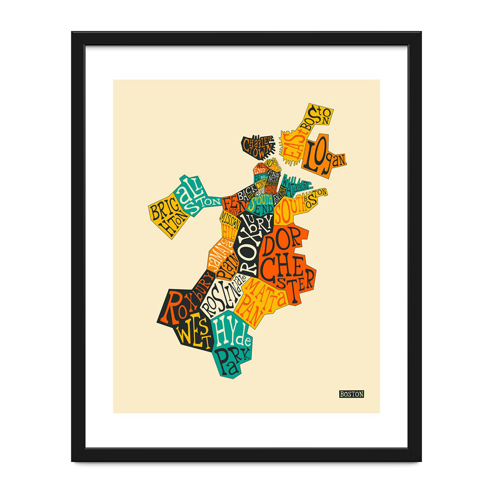 Monde Mosaic - Boston Neighbourhoods Print - 40x50cm