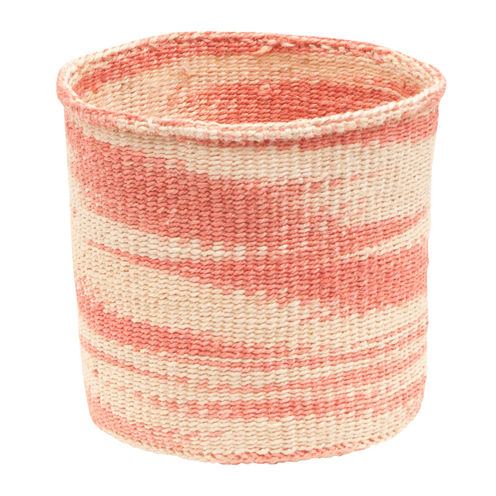 The Basket Room - Sauti Hand Woven Storage Basket - Dusky Pink - L
