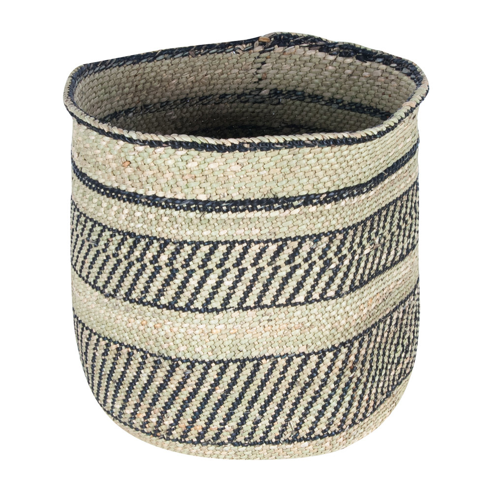 The Basket Room - Vizuri Hand Woven Storage Basket - Black/Natural - M