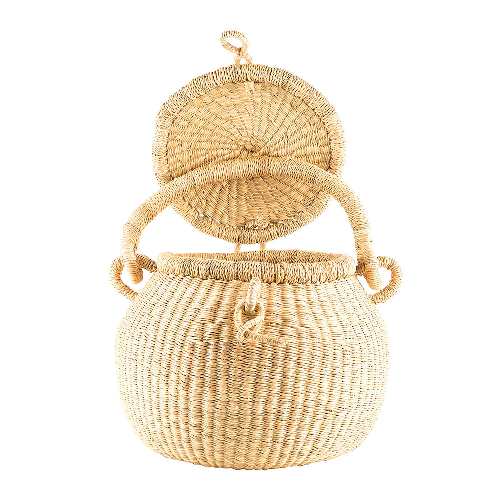 The Basket Room - Wene Hand Woven Lidded Shopping Basket - Natural