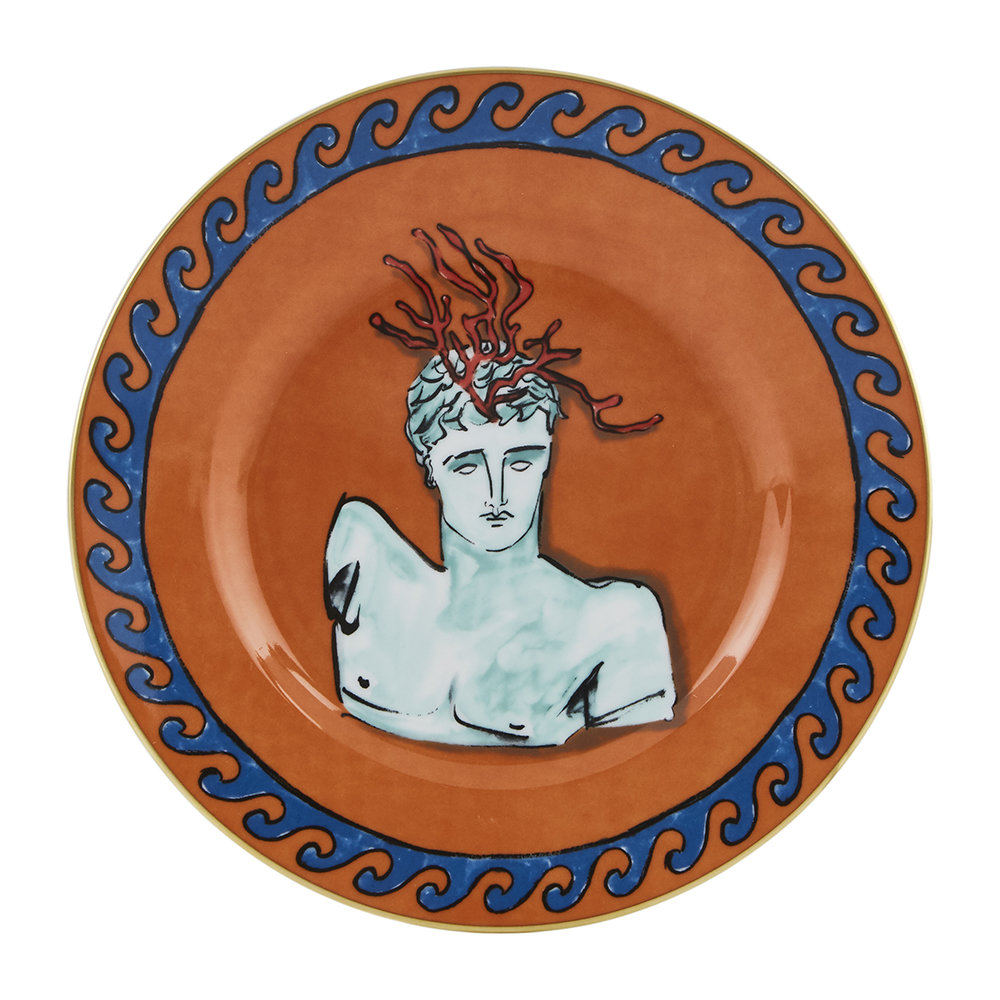 Richard Ginori 1735 - Luke Edward Hall Coral Crown Dessert Plate - Rock Orange
