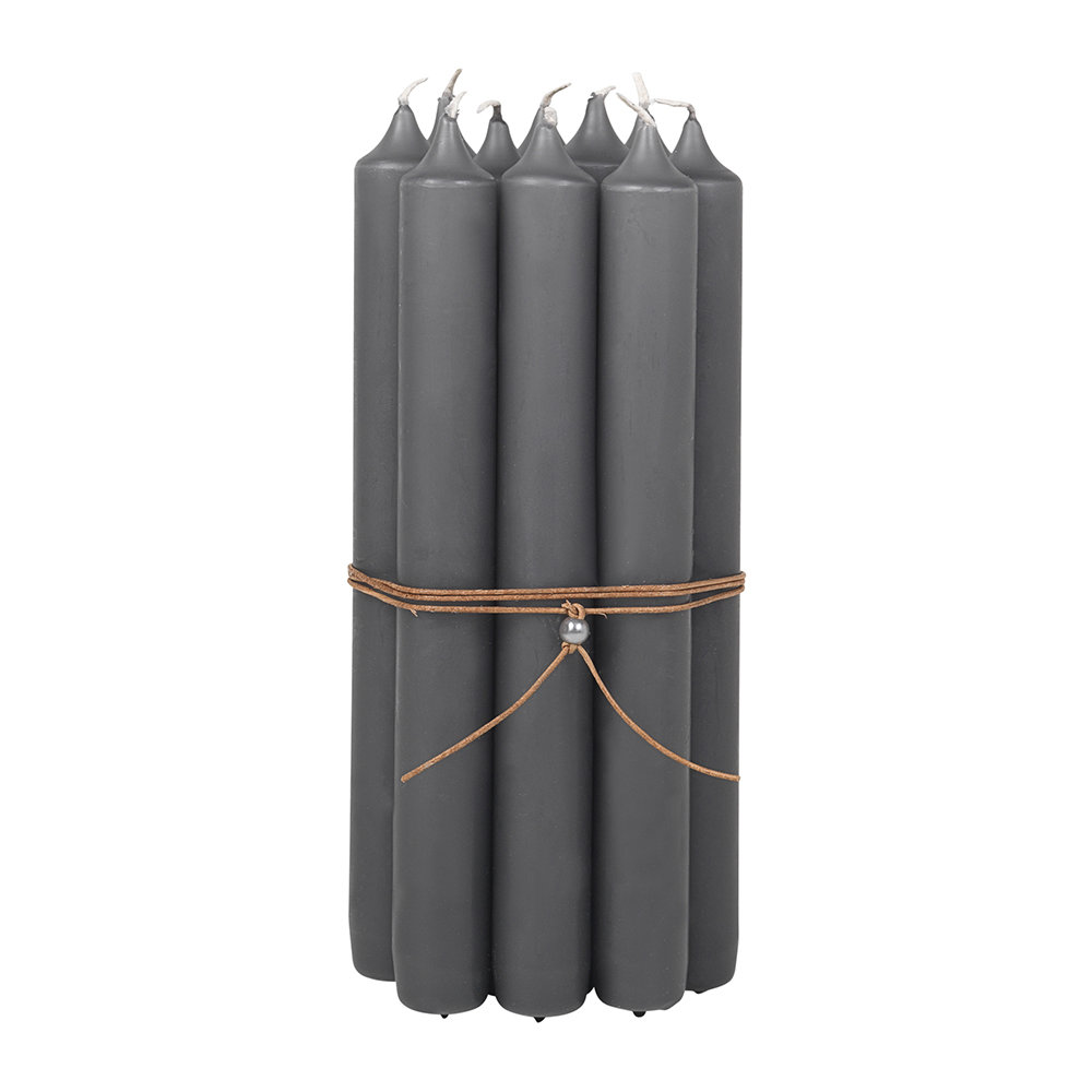 Broste Copenhagen - Classic Candle - Set of 10 - Anthrac Gray