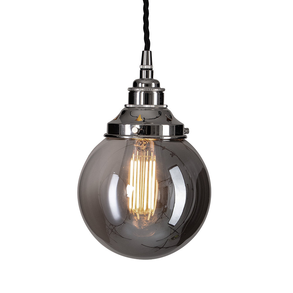 Old School Electric - Globe Smoked Brown Glass Ceiling Light - Small