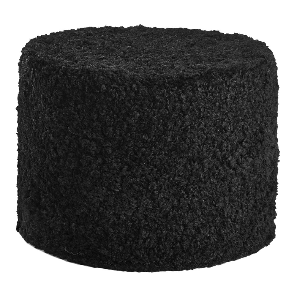 Essentials - Short Wool Curly Pouf - Black