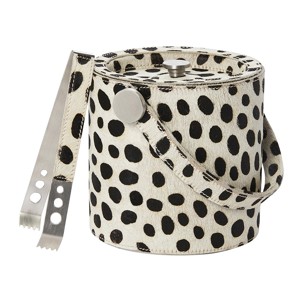 Pigeon & Poodle - Bandar Hair-On Hide Ice Bucket - Dalmatian