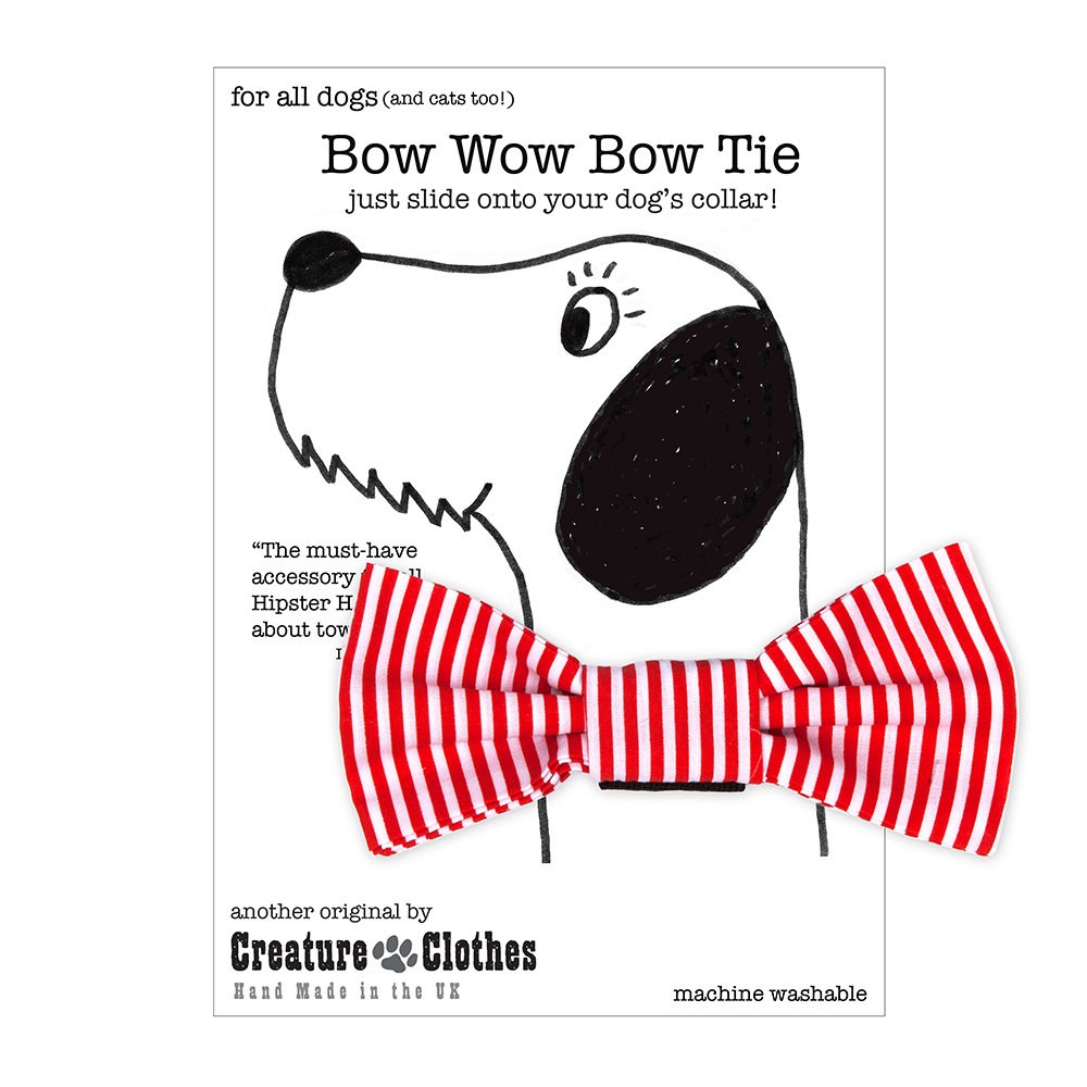 Creature Clothes - Dog Bow Tie - Candy Stripe