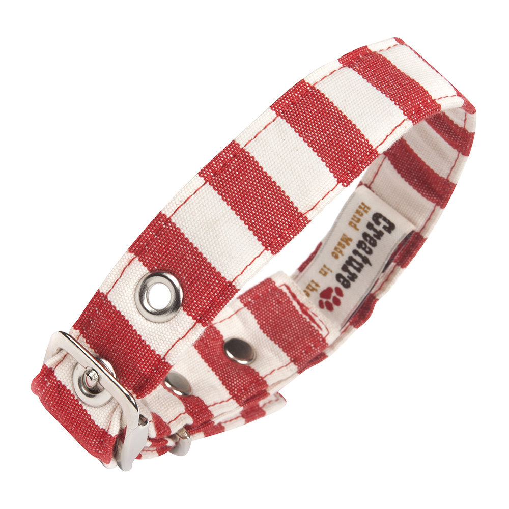 Creature Clothes - Fabric Dog Collar - Red & White - Large
