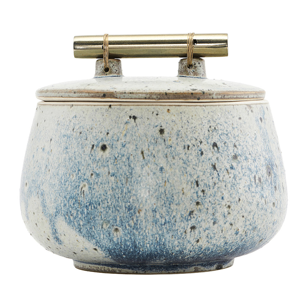 House Doctor - Diva Stone Storage Jar with Lid - Blue
