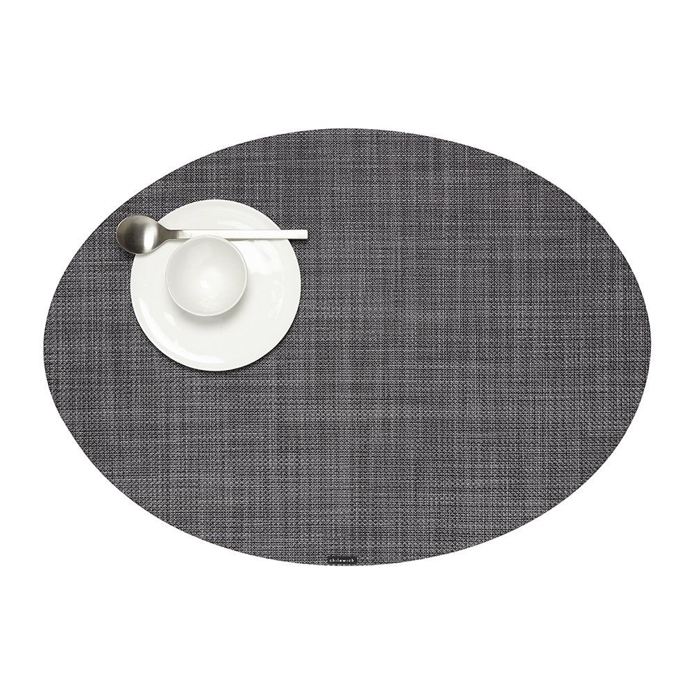 Chilewich - Basketweave Woven Oval Placemat - Cool Grey