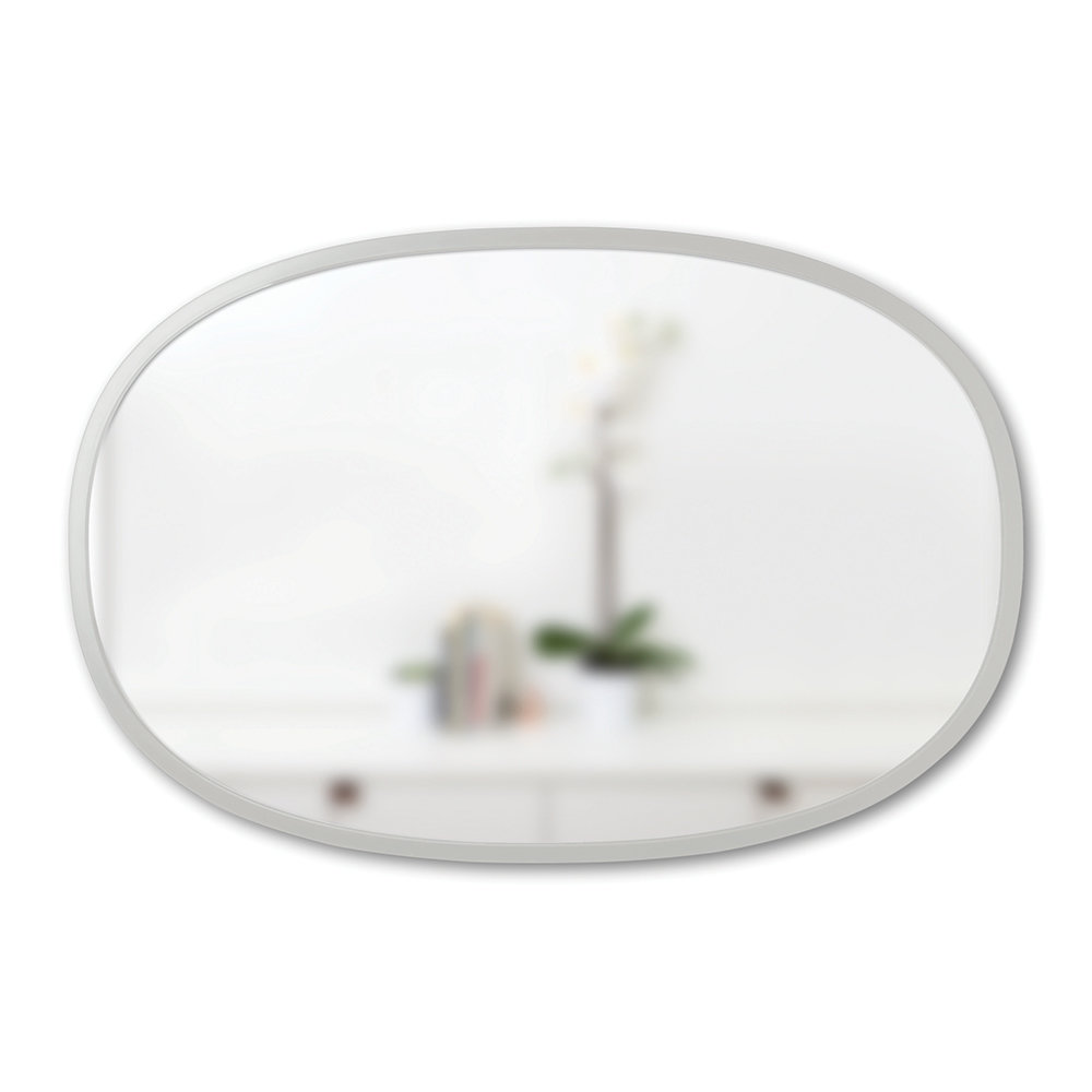 Umbra - Hub Oval Mirror with Rubber Frame - Grey