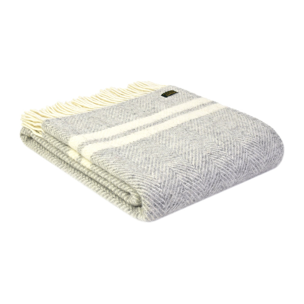 Tweedmill - Pure New Wool Fishbone 2 Stripe Throw - Silver Grey  Cream
