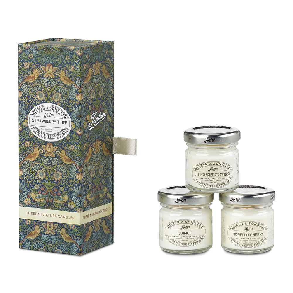 Tiptree - Strawberry Thief Mini Candle - Set of 3