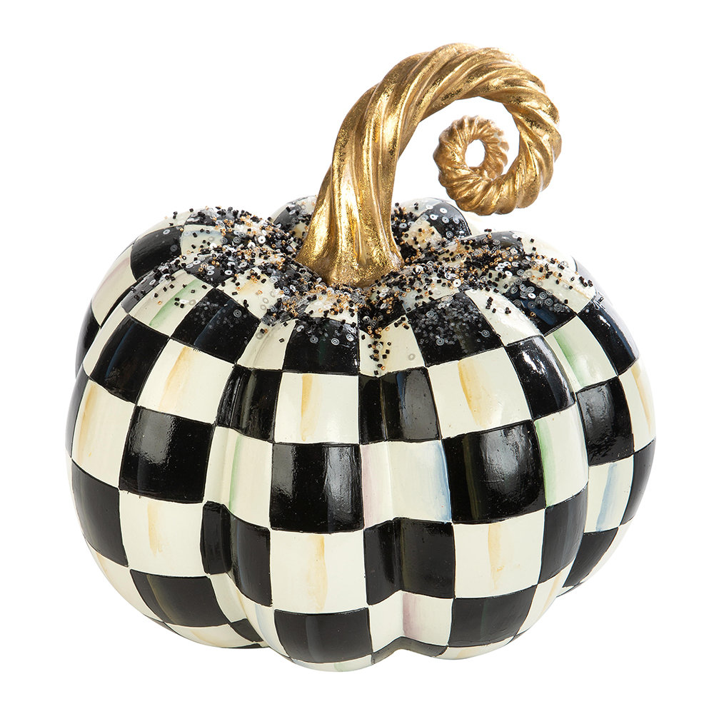 MacKenzie-Childs - Beaded Check Pumpkin Ornament - Medium