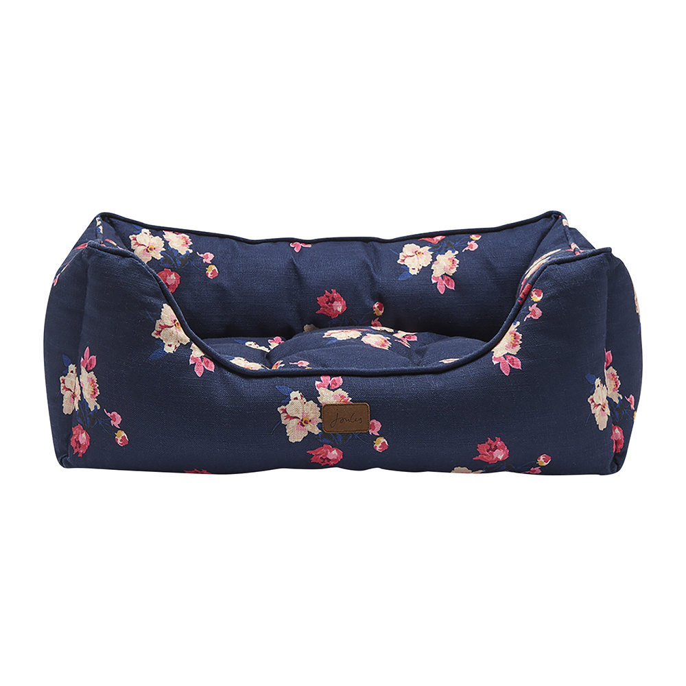 Joules - Floral Print Box Dog Bed - Large
