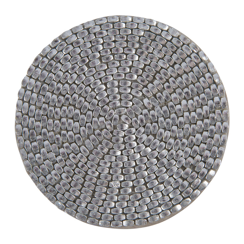 Luxe - Woven Beaded Coaster - Set of 4 - Silver