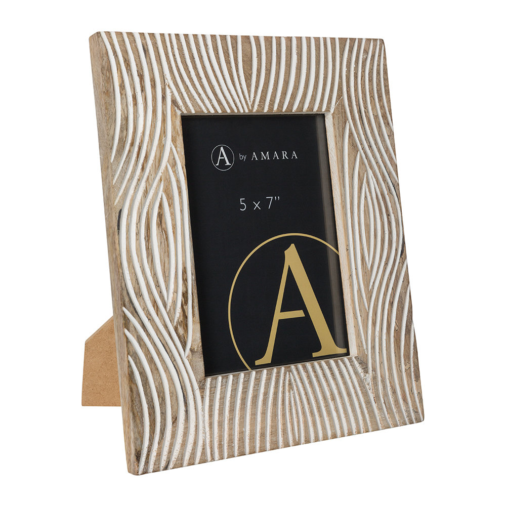 """Image of A by AMARA - Carved Wooden Photo Frame - 5x7"""" - White"""