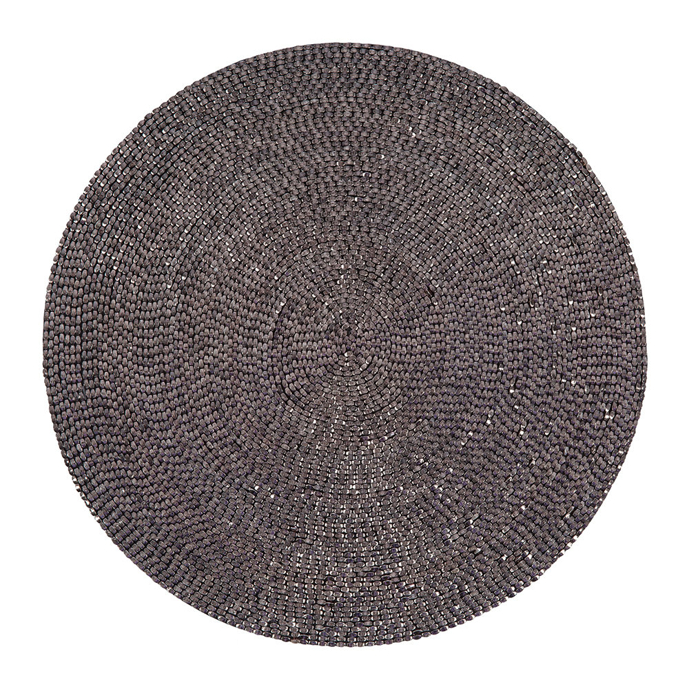 A by AMARA - Woven Beaded Placemat - Set of 2 - Gunmetal