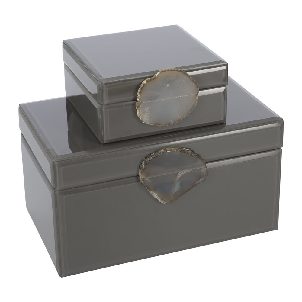 A by AMARA - Agate Handle Jewelry Box - Gray