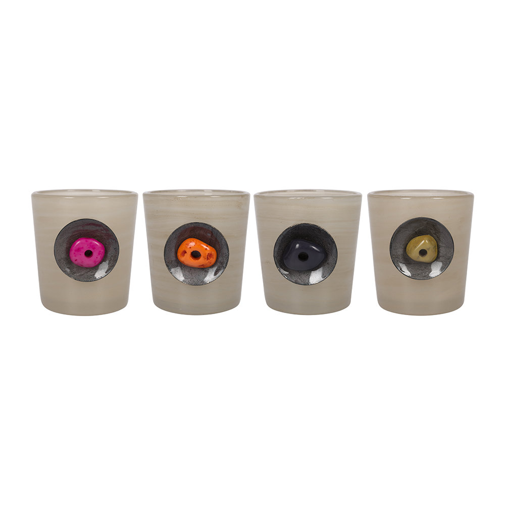 A by AMARA - Coloured Bead Tealight Holder - Set of 4