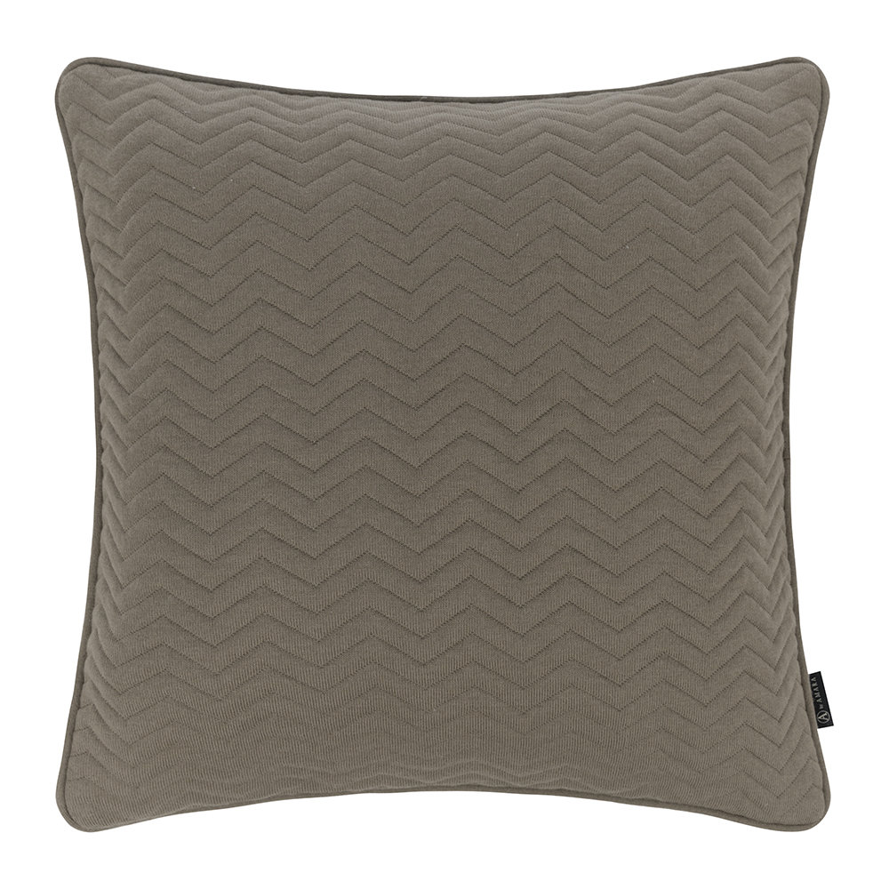 Retreat - Zig Zag Quilted Pillow - 50x50cm - Warm Gray