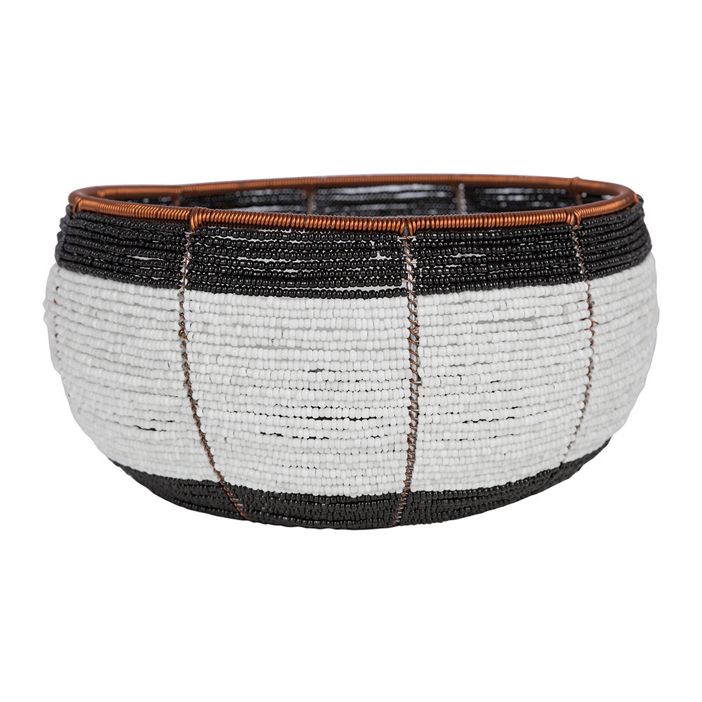 Source - Beaded Black  White Bowl