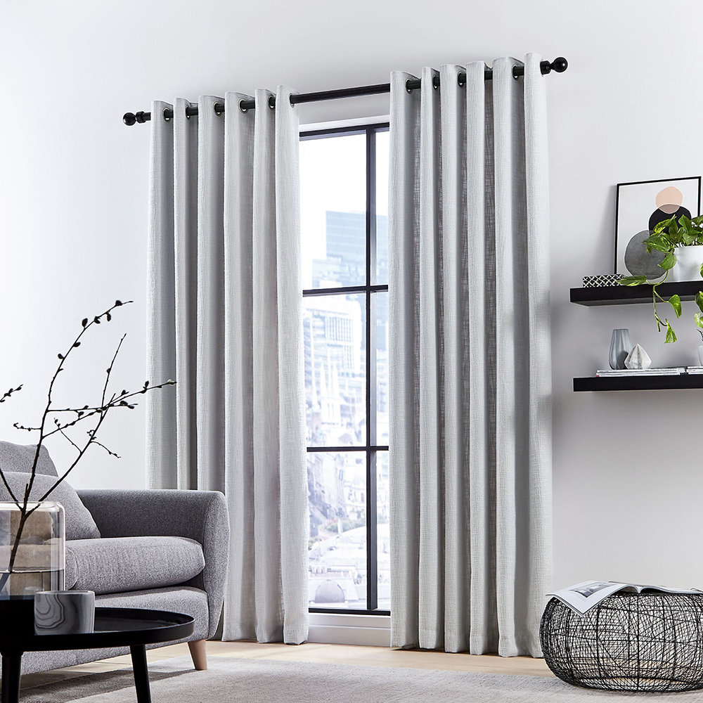 DKNY - Madison Lined Curtains - Silver - 228x182cm