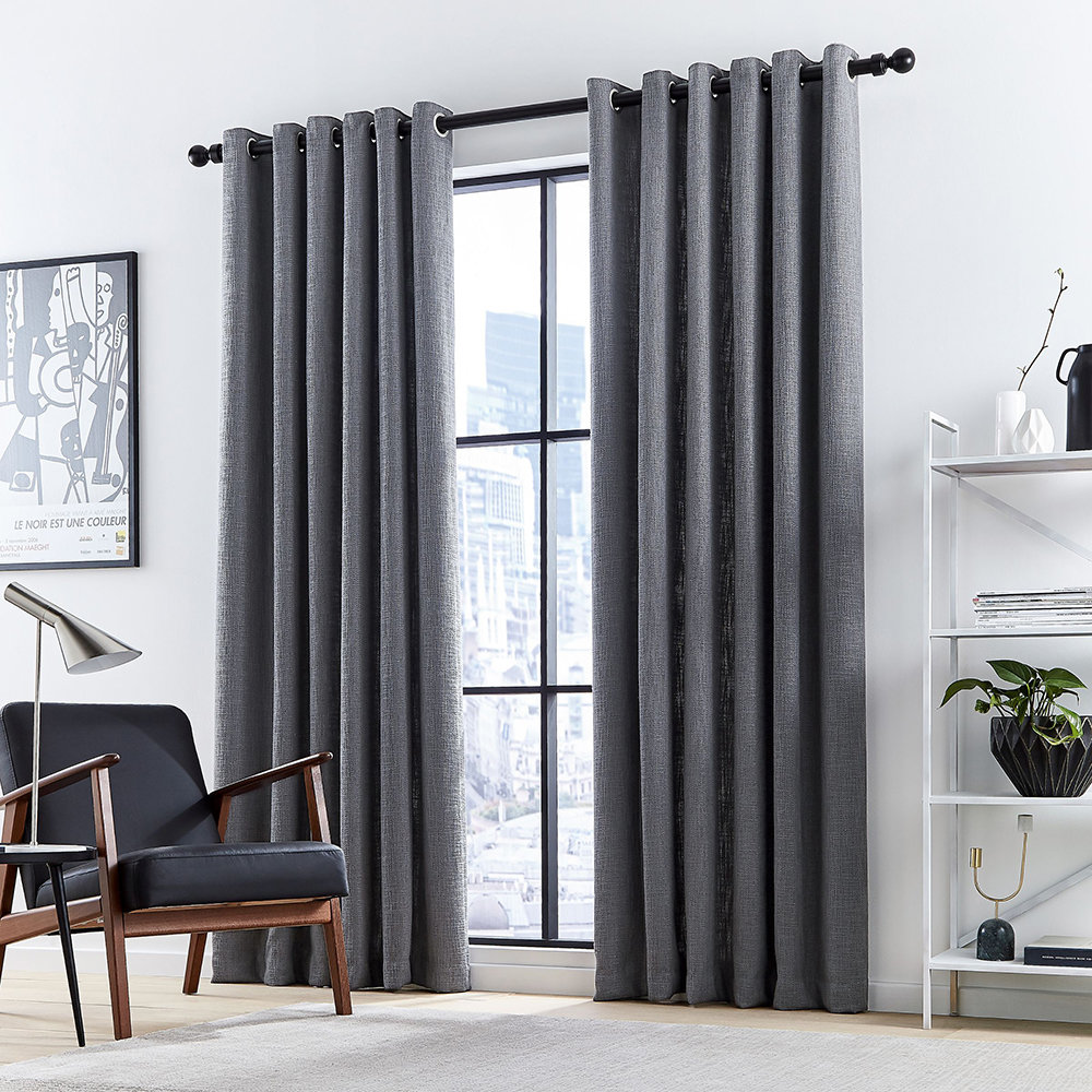 DKNY - Madison Lined Curtains - Charcoal - 228x182cm