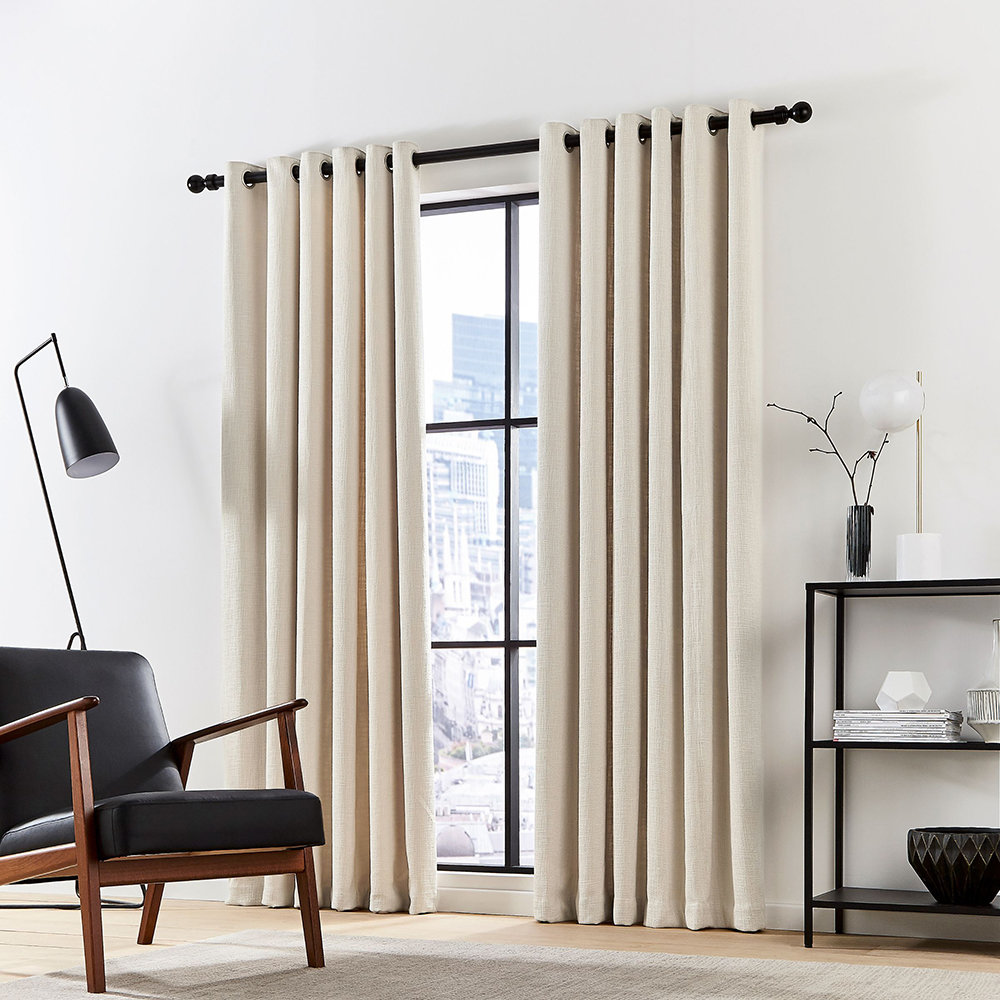 DKNY - Madison Lined Curtains - Ecru - 228x228cm