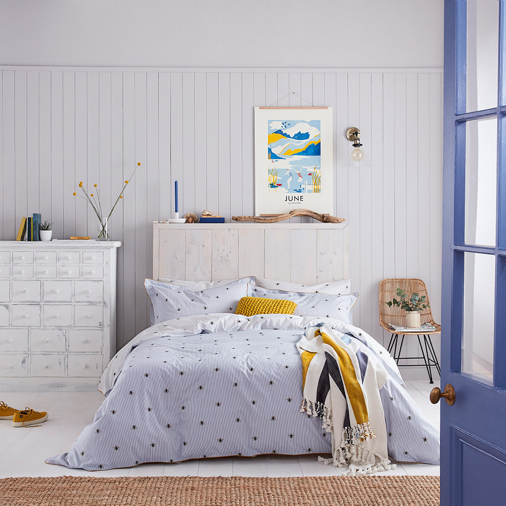 Joules - Botanical Bee Duvet Cover - Blue - Double
