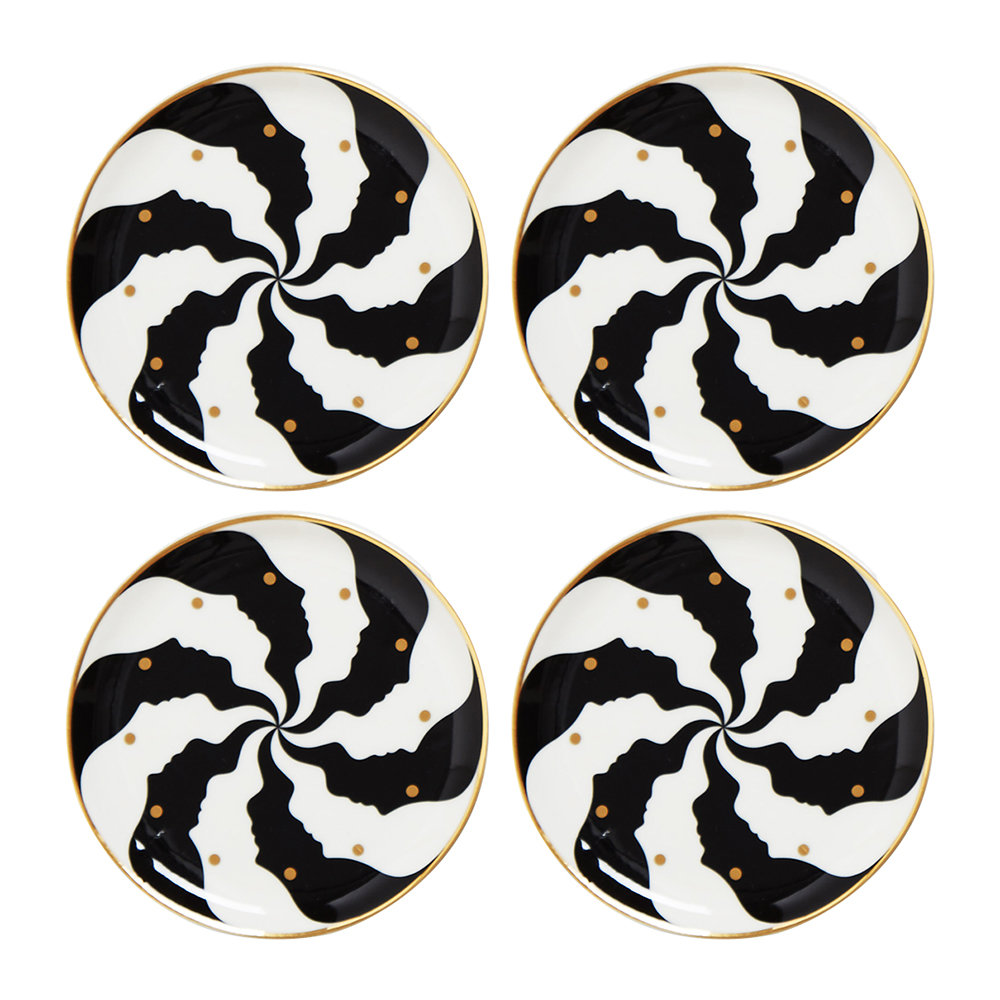 Jonathan Adler - Atlas Coasters - Set of 4 - Black/White