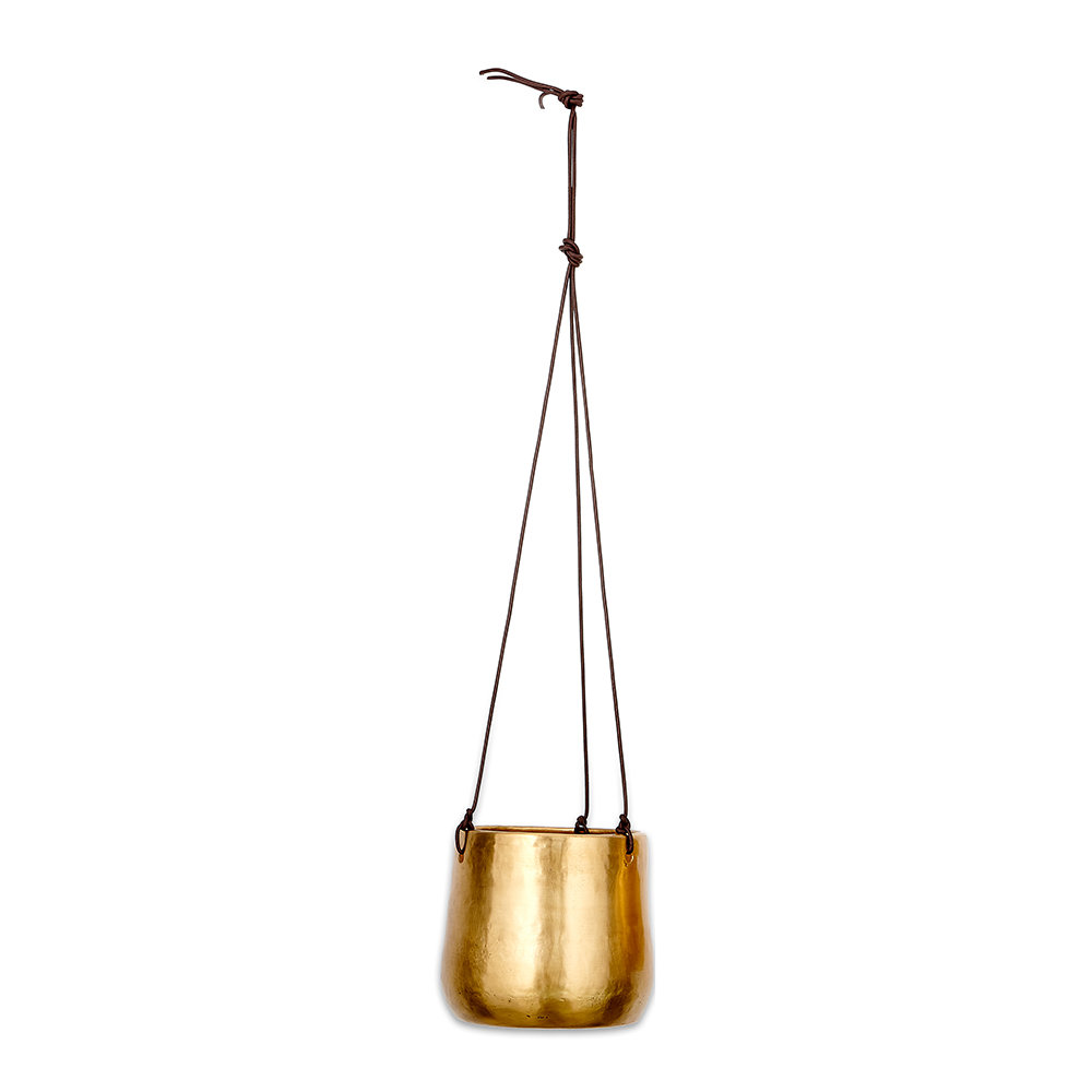 Nkuku - Atsu Hanging Planter - Antique Brass - Large