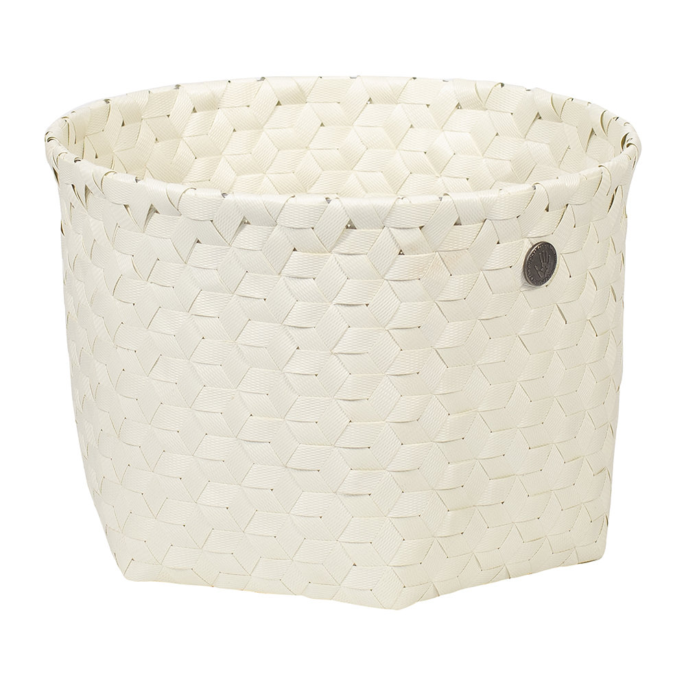 Handed By - Dimensional Open Round Basket - Small - Ecru White